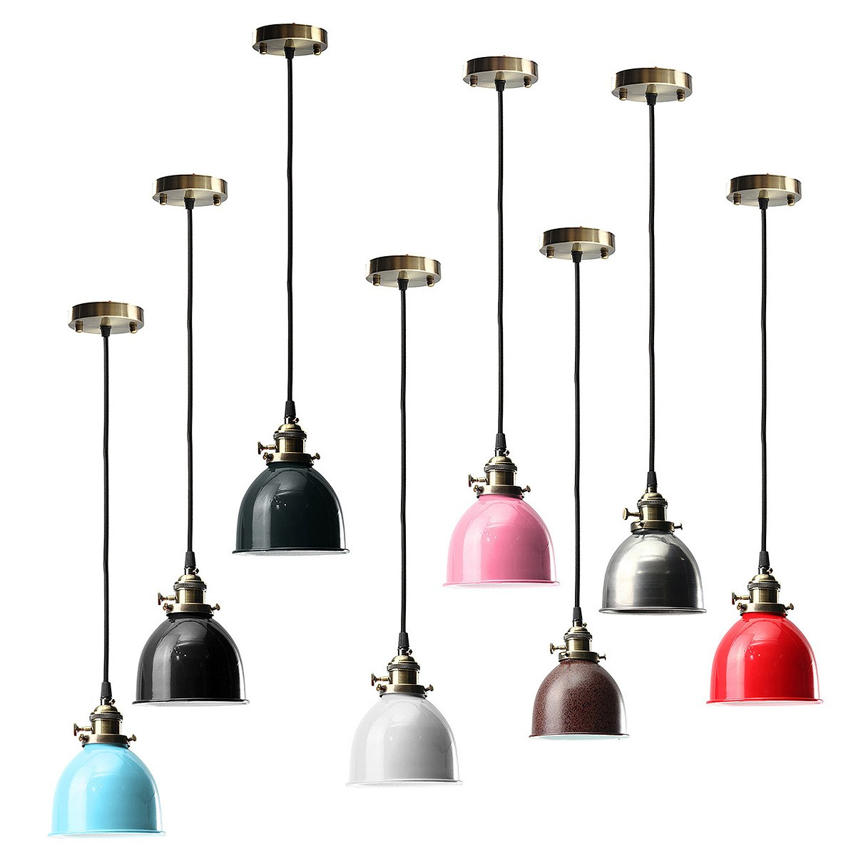 E27 Vintage Industrial Bronze Bowl Lampshade Pendant Light Bulb Holder retro Hanging Lighting Lamp Base Loft Bar Cafe Home decor loft retro hanging lamp industrial minimalist iron pendant light bar cafe restaurant e27 lamp holder vintage lights wpl028