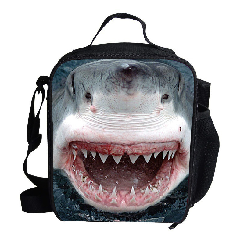 b871a7e84c11 US $13.98 20% OFF|Cool Shark Print Lunch Bag Thermal Cooler For Kids Boys  Girls Children Picnic Bag Ice Pack Insulation Bag-in Lunch Bags from  Luggage ...
