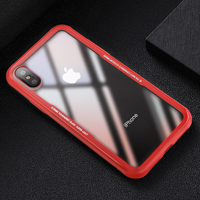 CAFELE New Original Phones Cases For iPhone X 10 Case soft TPU + Ultra Thin Transparent Glass Back Cover For iPhones X 10 Case (3)