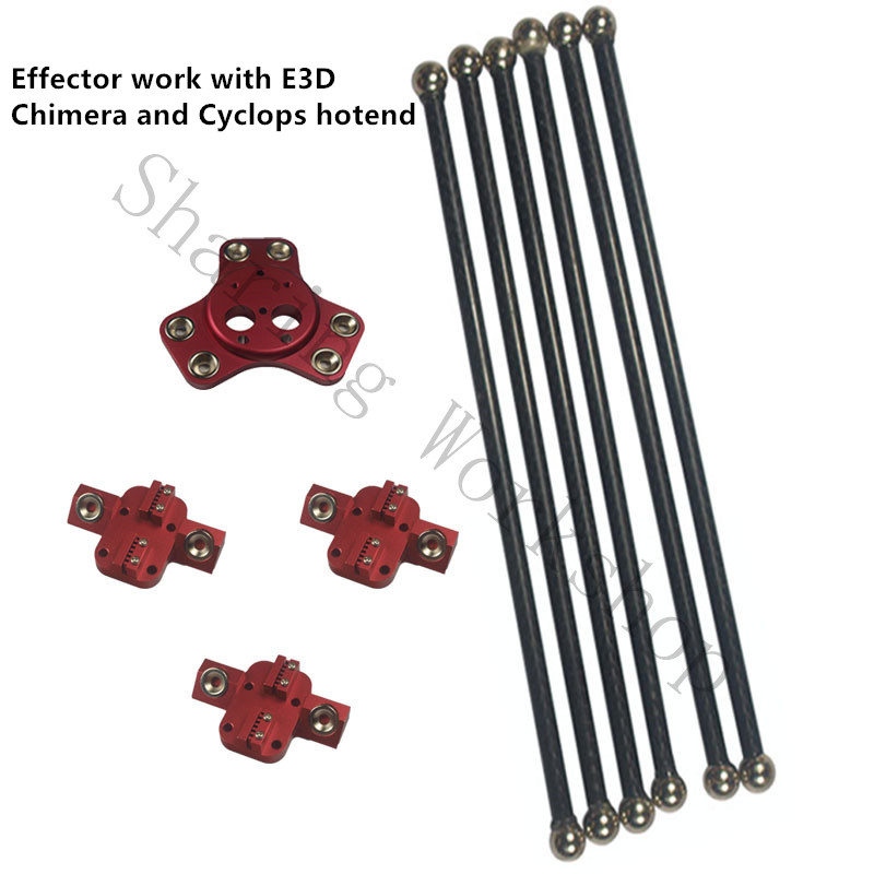 Reprap Delta kossel XL magnetic carriage+effector for Chimera/Cyclops hotend+300mm carbon tube Diagonal push rods kit rdg kossel xl