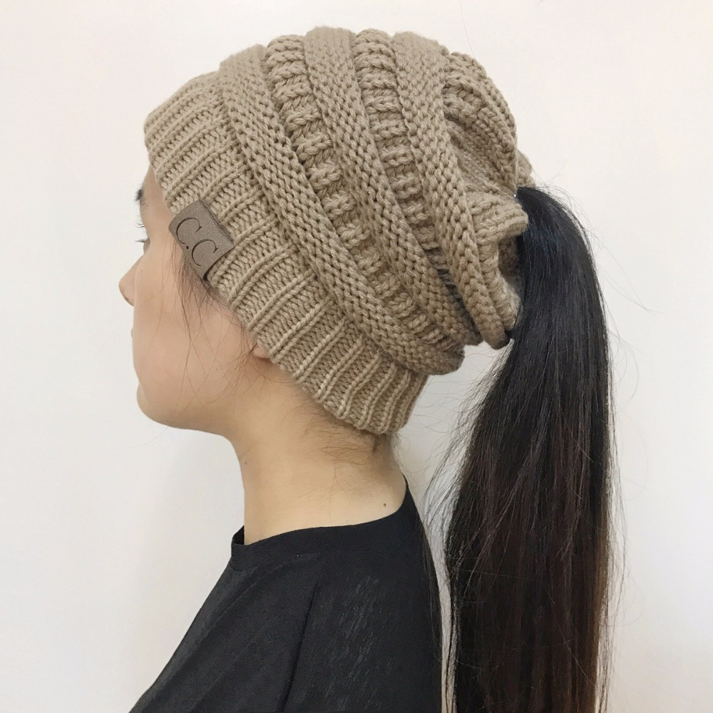 2017 Hot Sales Fashion Hat Winter Warm Hat Skullies Beanies Solid Hole For  Hair Knitted Hat Warm Cap Beanies Cap-in Skullies   Beanies from Apparel ... 02d3efe66cd