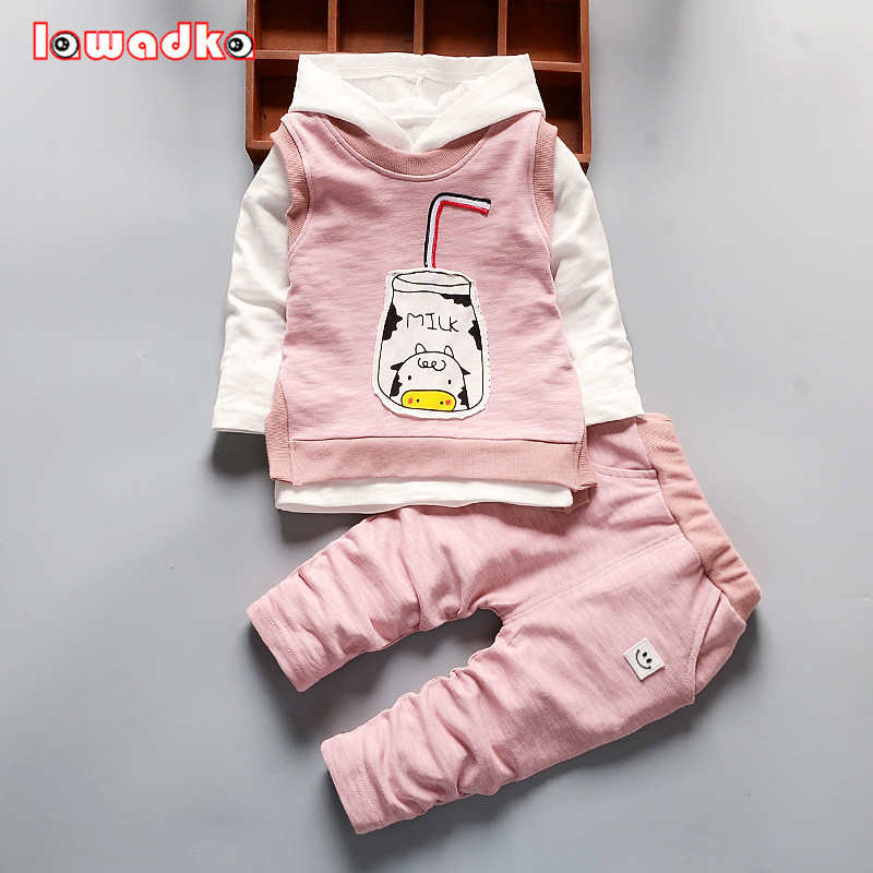 Girls Boys Clothing Set Kids Sports Suit Children Tracksuit Girls Waistcoats+Long shirt + pants 3Pcs Sweatshirt Casual Clothes spring children girls clothing set brand cartoon boys sports suit 1 5 years kids tracksuit sweatshirts pants baby boys clothes