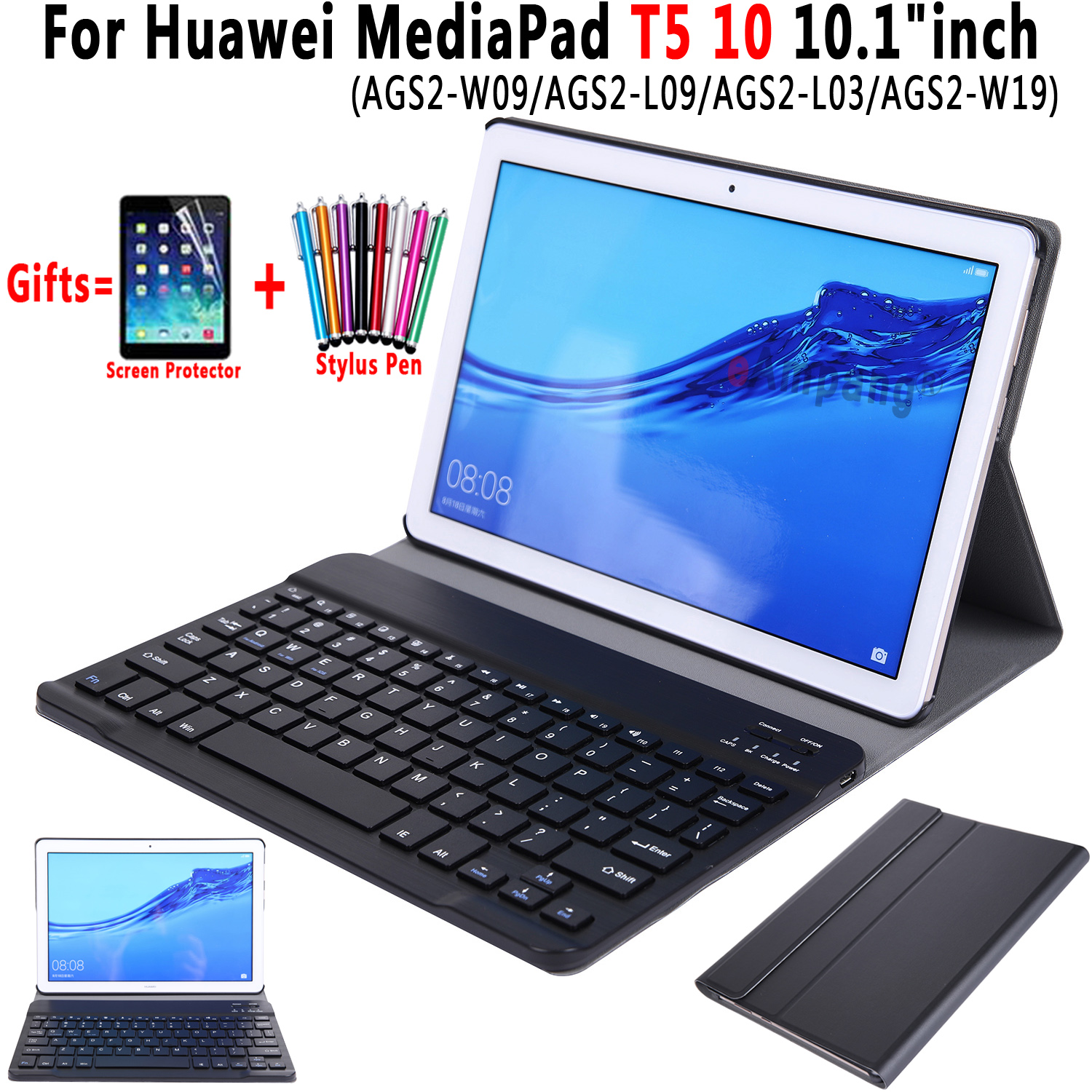For Huawei MediaPad T5 10 Keyboard Case 10.1 Inch AGS2-W09 AGS2-L09 AGS2-L03 Slim Bluetooth Keyboard Leather Case Cover Funda