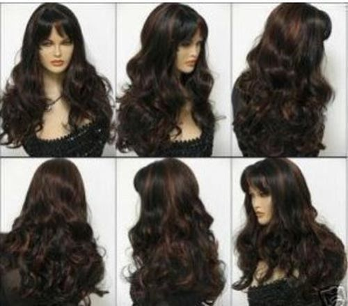 exquisite long curly mix women's hair wig wigs for women