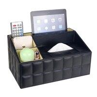 Кожа PU Многофункциональный стол организатор офисный стол Хранение Box Черный Классический карандаш держатель Канцелярские коллекции короб...