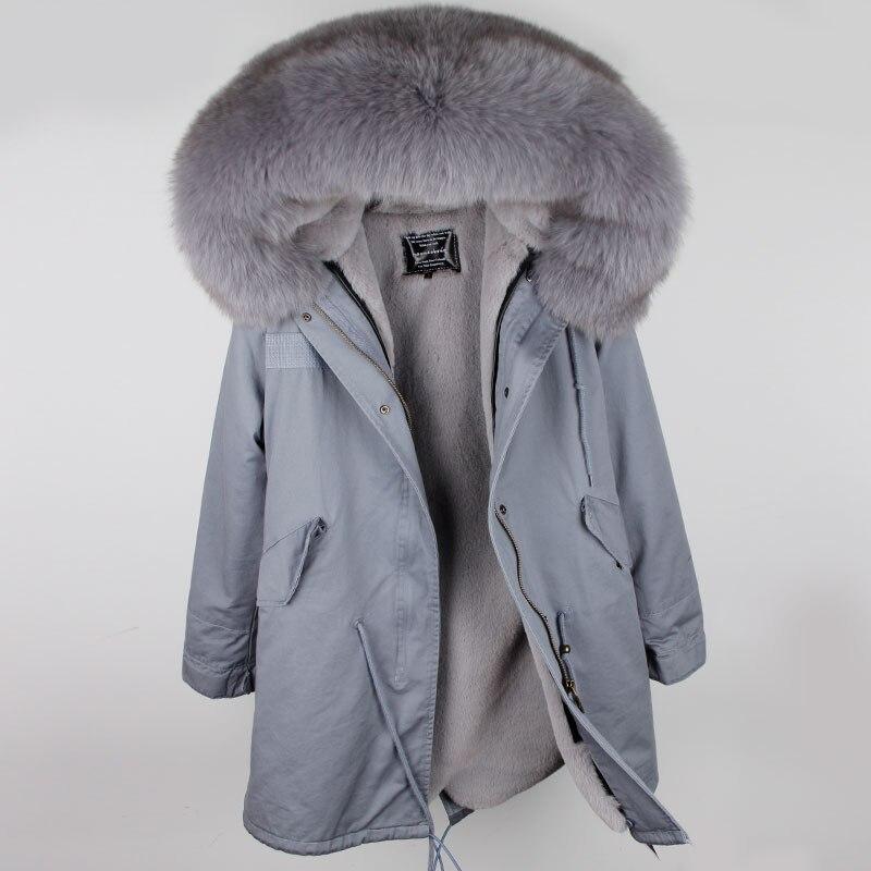 2018 chaud hiver vestes femmes longue veste parka femme réel renard fourrure femme hiver manteaux rose vêtements d'extérieur Parkas armée vert tissu