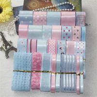 New 29 Yards Lovely Pink Blue Mix Series Printed Satin Grosgrain Organza Ribbon Set DIY Hairpin Bowknot Hair Accessory Material
