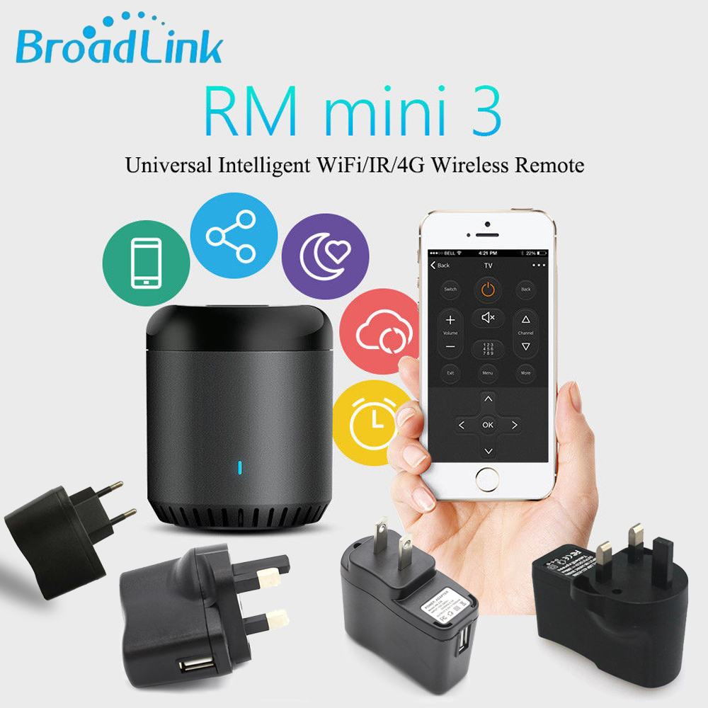 Broadlink Smart Home Original RMMini3 WiFi+IR+4G Remote Control AU UK US EU Plug Wireless Controller work for Alexa Google HomeBroadlink Smart Home Original RMMini3 WiFi+IR+4G Remote Control AU UK US EU Plug Wireless Controller work for Alexa Google Home