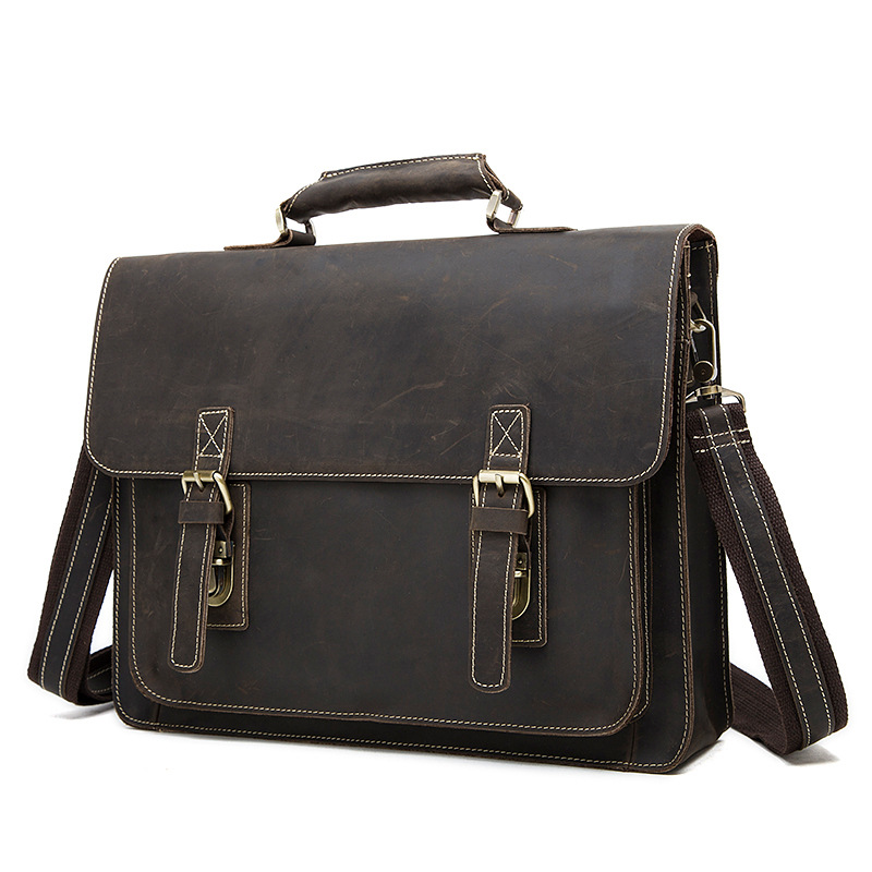 Crazy horse leather bag retro head layer cowhide leather briefcase man computer cowather 2016 crazy horse leather
