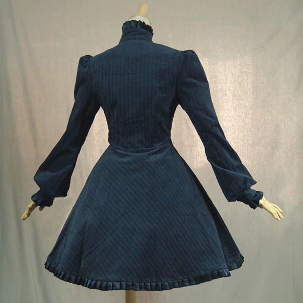 Vestido de oficina de Primavera Otoño de mujer británica vintage lolita disfraz de pana vestido Casual plisado largo rompevientos - 3
