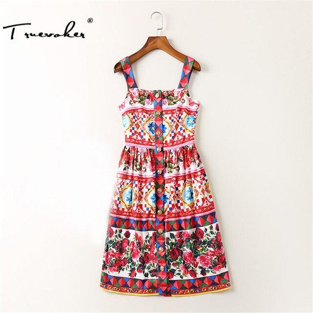US $49.5  Truevoker Summer Designer Plus Size Dress Women\'s High Quality  Multicolor Flower Printed Front Button Spaghetti Strap Dresses-in Dresses  ...