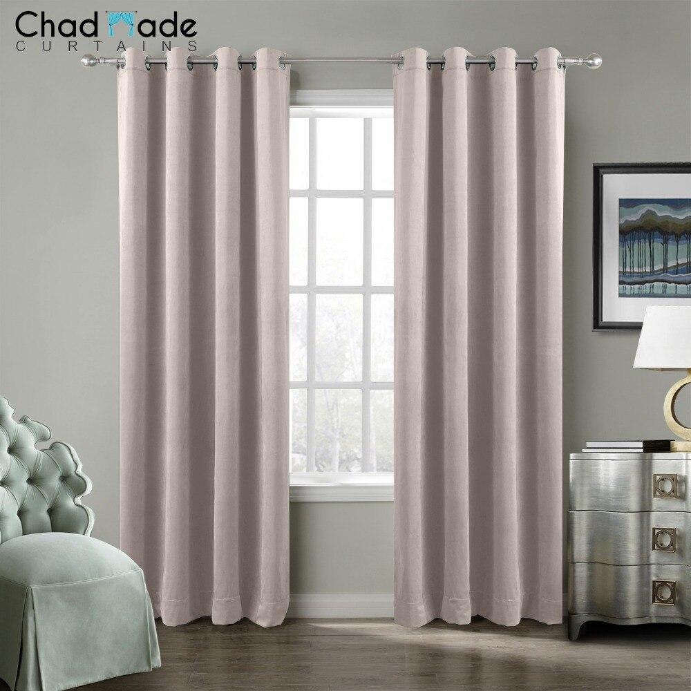ChadMade Solid Blackout Curtains For Bedroom Velvet Modern