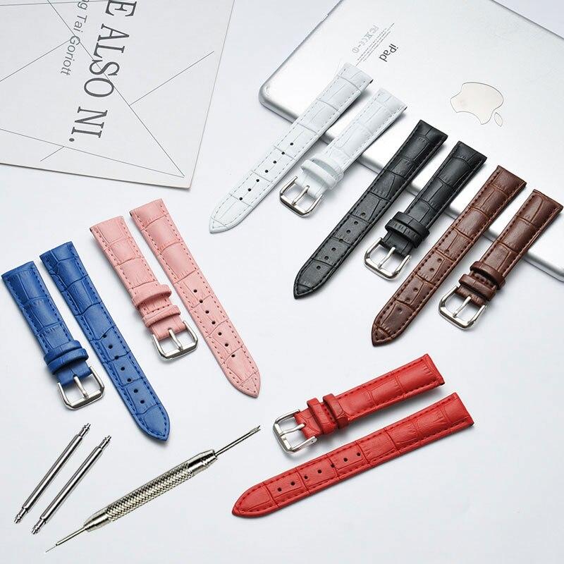 10 12 14 15 16 17 18 19 20 21 22 24mm Genuine Leather Watchband Luxury Watch Belt Strap Wristwatches Band Female Red White Black