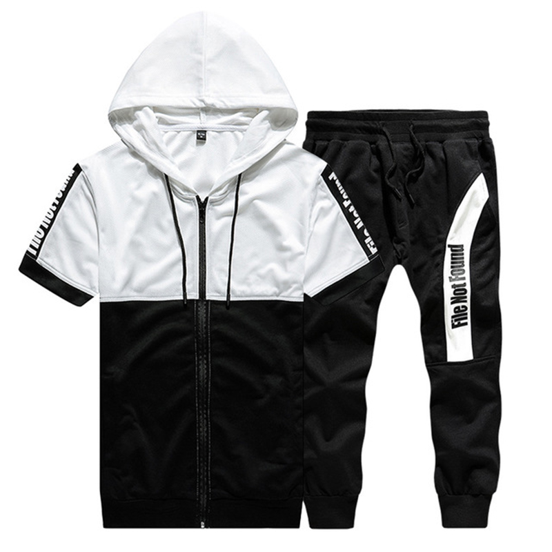 Rlyaeiz 2019 Summer Casual Tracksuit Men Two Pieces Set Letter Printed Color Patchwork Hoodies + Shorts Sets Male Sweat Suit
