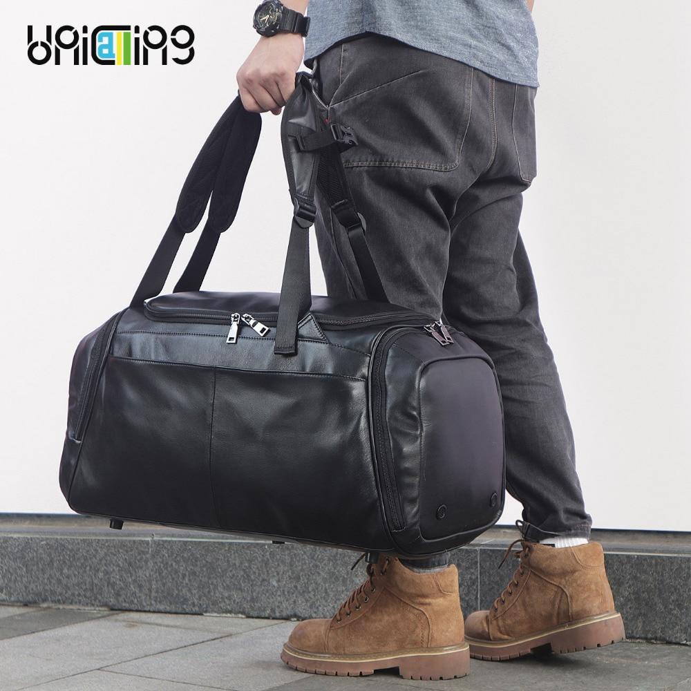 UNICALLING luxury fitness bag genuine leather large capacity stylish sports leather gym bag backpack fashion luggage travel bag