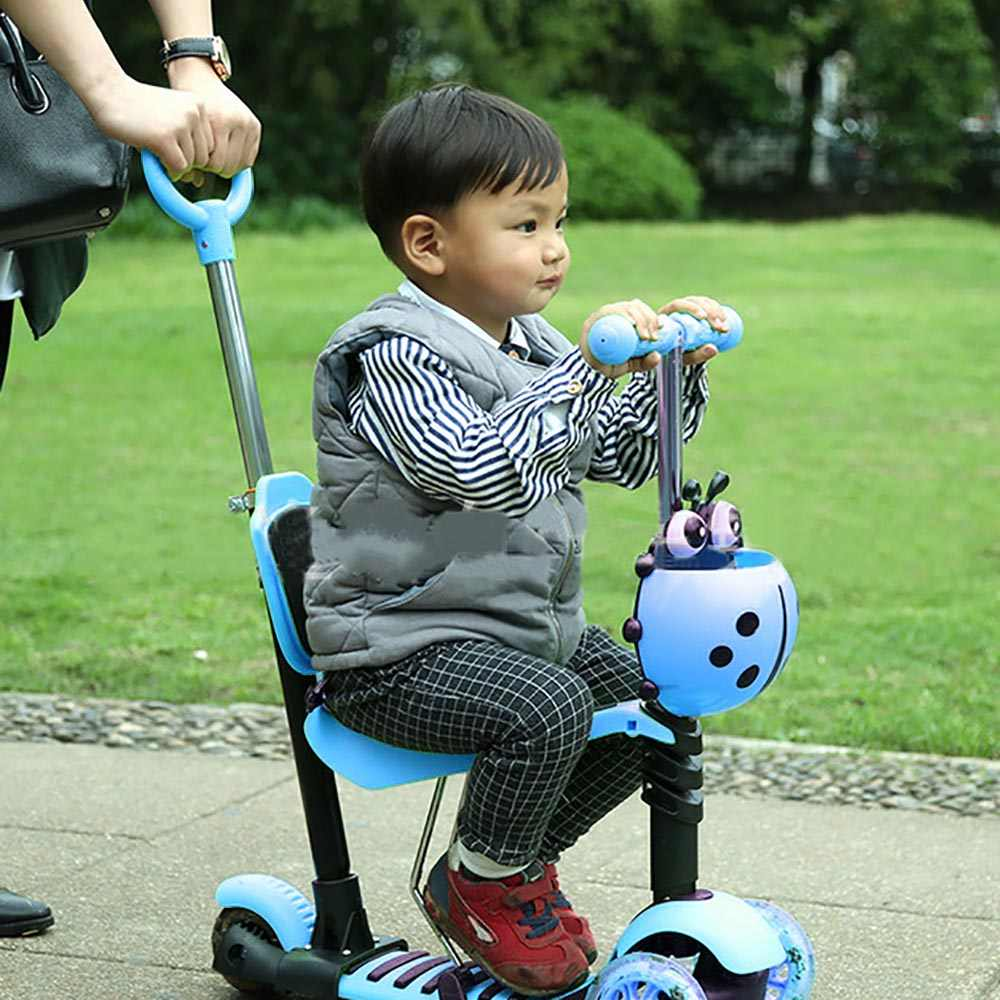 5 In1 MINI Tendangan Roda LED Flashing Roller Roda T-Bar Tilt Push Kursi Anak-anak Anak Profesional Ekstrim olahraga Scooter