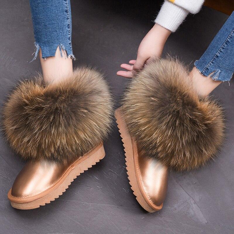 RUIYEE dames bottes d'hiver en cuir bottes de neige en fourrure de renard bottes pour femmes 2018 nouvelles chaussures chaudes cheveux réels