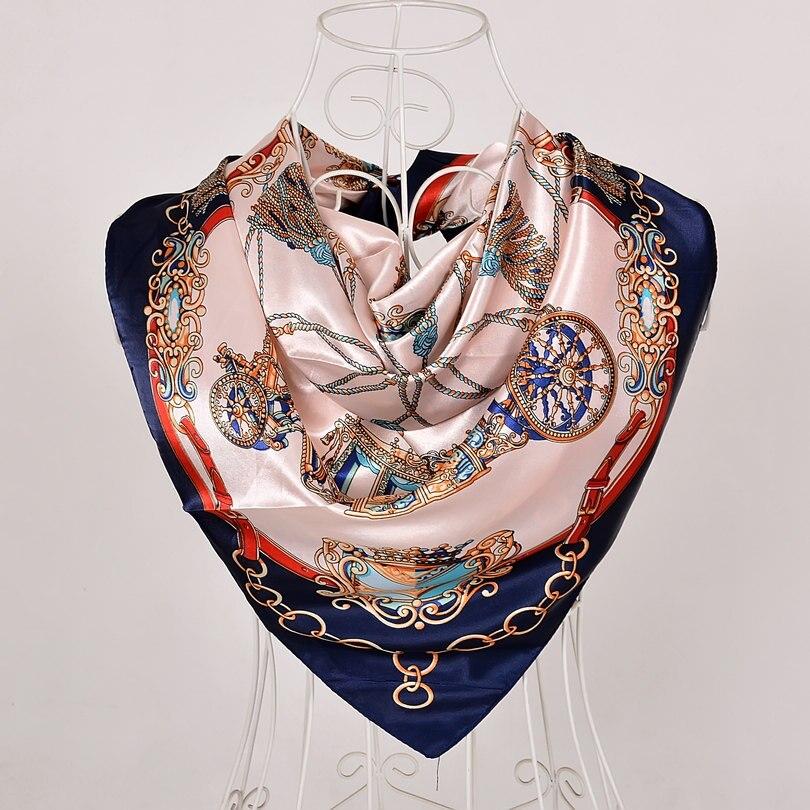 Дизайн женский Шелковый большой квадратный шелковый шарф из полиэстера, 90*90 см горячая Распродажа атласный шарф с принтом для весны, лета, осени, зимы - Цвет: blue pink 562