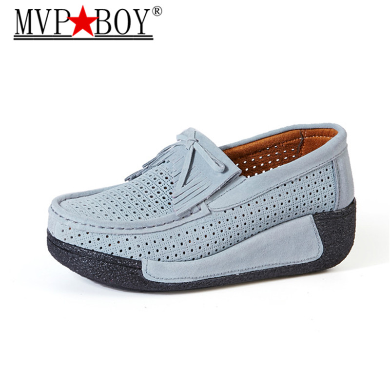 MVP BOY 2018 Women Flats Shoes Platform Sneakers Breathable   Leather     Suede   Casual Shoes Slip-on Loafers Flats Fringe Moccasins
