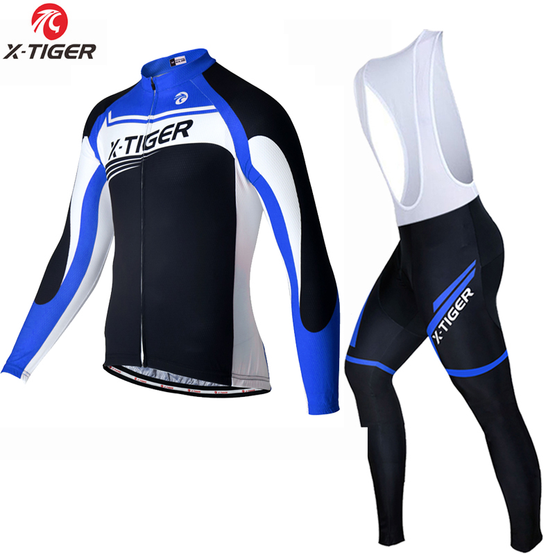 X-TIGER Spring Long Sleeve Cycling Jersey Set Mtb Bicycle Clothing Bicycle Maillot Ropa Ciclismo Mans Bike Clothes Cycling Set men thermal long sleeve cycling sets cycling jackets outdoor warm sport bicycle bike jersey clothes ropa ciclismo 4 size