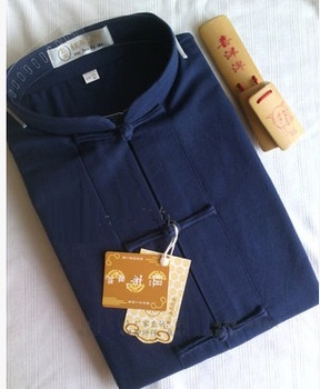 Spring Autumn Shirt Blouse Mens Kung Fu Wushu Martial Arts Chinese Frog Button Linen Top