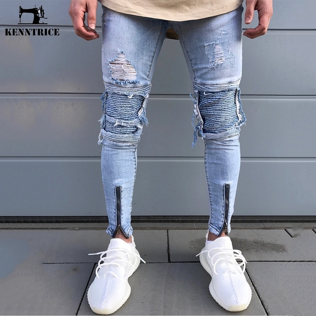 e1c33ddcf9f KENNTRICE Spring Mens Skinny Jeans Hip Hop Autumn Motocycle Denim Long  Jeans Men Patchwork Slim Fit