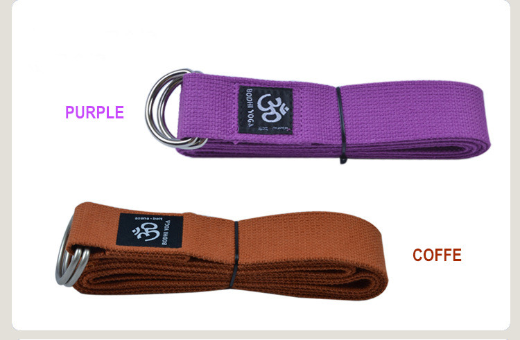 2016 new Colorful Branded 2.5m x 3.8cm 100% oganic cotton yoga accessory belts with metal rings easy to carry