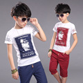 Kids Boys Summer Suits Kids Two Pieces Clothing Sets Red Blue Letters