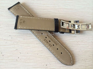Image 2 - 19mm (Buckle18mm) PRC200 T17 T41 T461 High Quality Silver Butterfly Buckle + Black Genuine Leather Watch Bands Strap