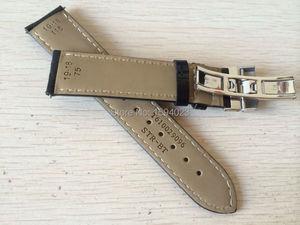 Image 2 - 19mm (Buckle18mm) PRC200 T17 T41 T461 באיכות גבוהה כסף פרפר אבזם + שחור אמיתי עור להקות