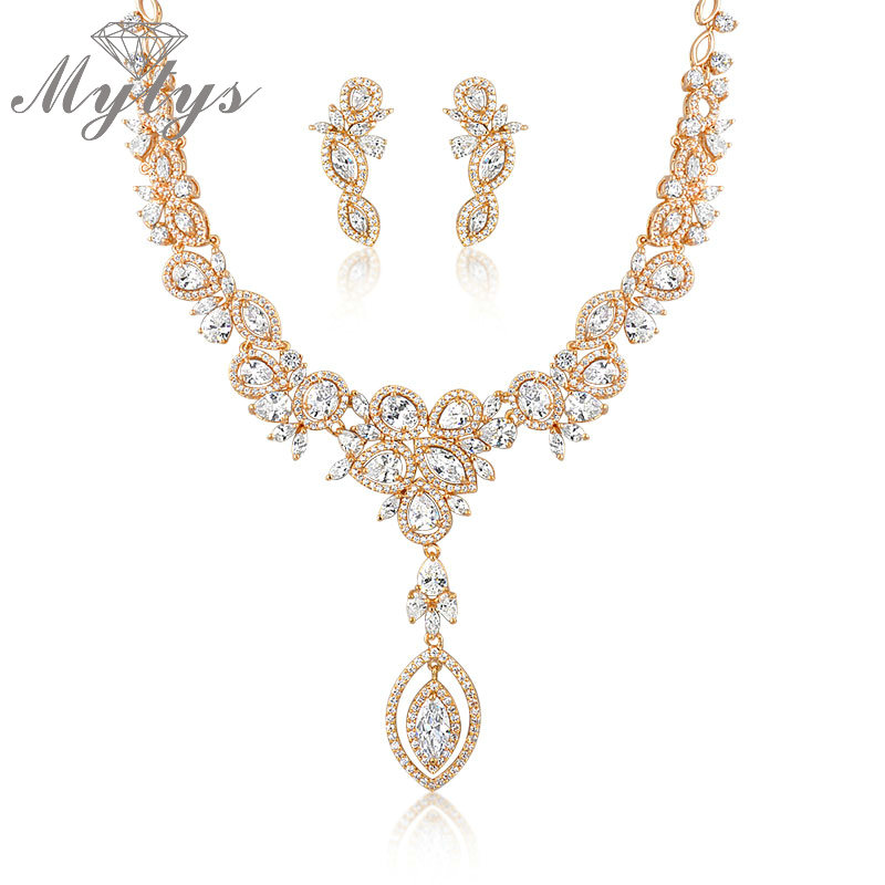 Mytys High Quality Jewelry Sets for Women GP Brand Level Crystal Earrings and Necklace Sets CN157 недорго, оригинальная цена