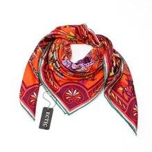Mode Gedrukt 100% Zijde Twill Sjaal Bandana Hijab Foulard Vierkante Zijden Sjaal Vrouwen 90 Luxe Ontwerp Zijden Sjaals & Wraps sjaal