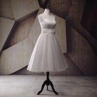 Simple And Cheap Tea Length Wedding Dress Vestido De Noiva 2017 Custom Made New Bridal Dress