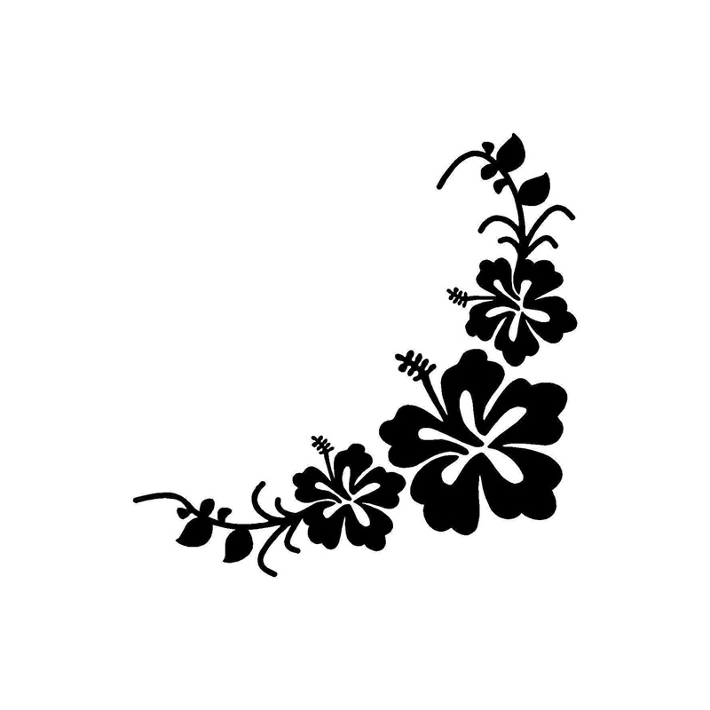 Hawaiian Hibiscus Flower Car Decal Mirror Window Body Sticker Scratch Cover Hot