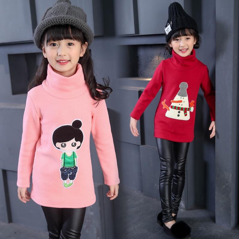 Girls Winter T shirt Long Sleeves with Velvet Cotton Cartoon Kids Turtleneck Children s Girls Sweatshirts