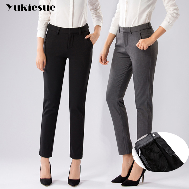 High waist   pants     capris   women 2018 summer syle plus size thick OL office pencil   pants   female trousers pantalon mujer