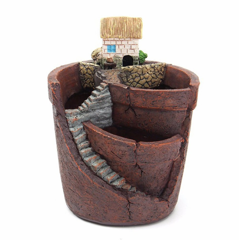 1PC Plants Pot With City Of Sky Flowerpot Combination Resin Succulent Plant Pot Flower Basket Planter Pot
