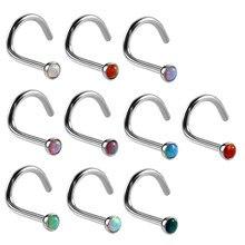 Piercing Pour le Nez en acier opale, 10 pièces/lot, 20G, petits anneaux Pour le Nez, bijoux de corps