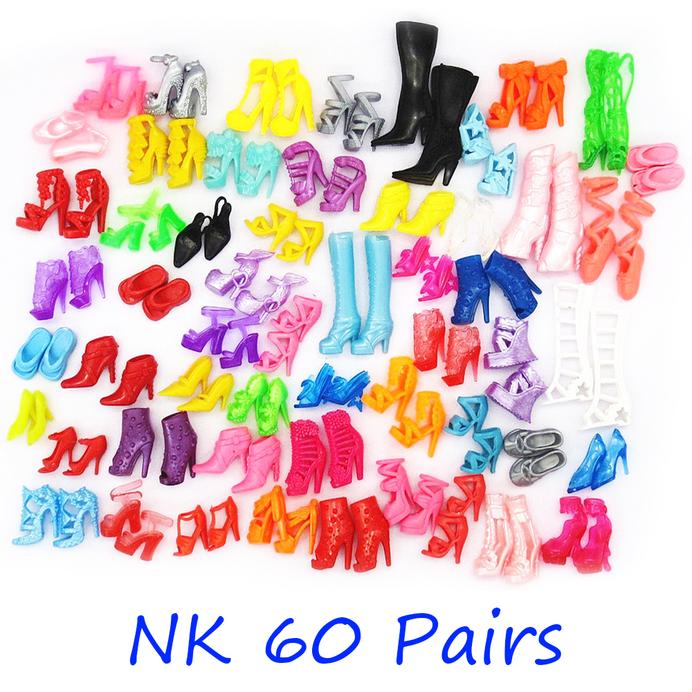 NK 60 Pairs/Set Doll Shoes Fashion Sandals Cute Colorful Assorted High Heels  For Barbie Doll Accessories Dress Baby Toy 6X