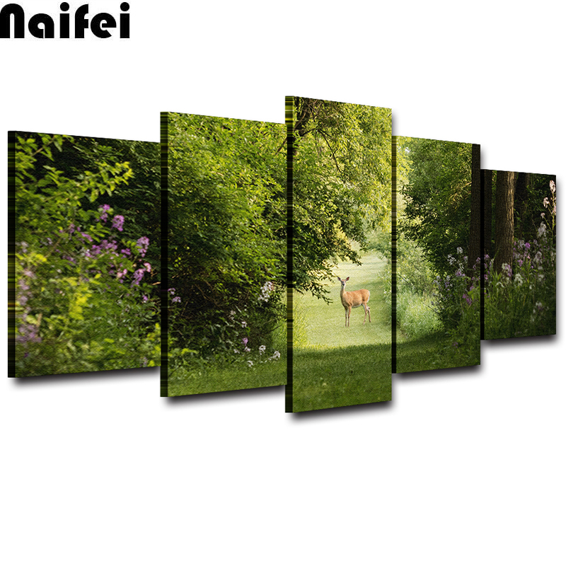 Diamond Painting Wall Art Nature Landscape 5 Pieces Summer Deer square round diamond embroidery cross stitch kits diamond mosaicDiamond Painting Wall Art Nature Landscape 5 Pieces Summer Deer square round diamond embroidery cross stitch kits diamond mosaic