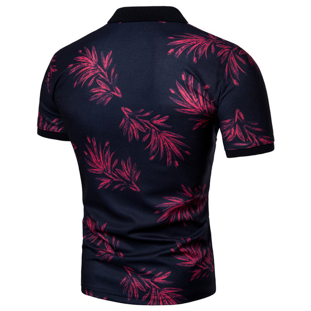 GustOmerD 2018 Summer Fashion Polo Shirt Men Floral Print Short Sleeve Polo shirt Gradient Casual Polo Mens