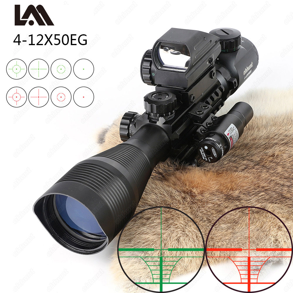Lambul Hunting Airsofts Riflescope 4-12X50EG Tactical Air Gun Red Green Dot Laser Sight Scope Holographic Optics Rifle Scope flyzone sport trainer 2 в 1 865мм 2 4ghz