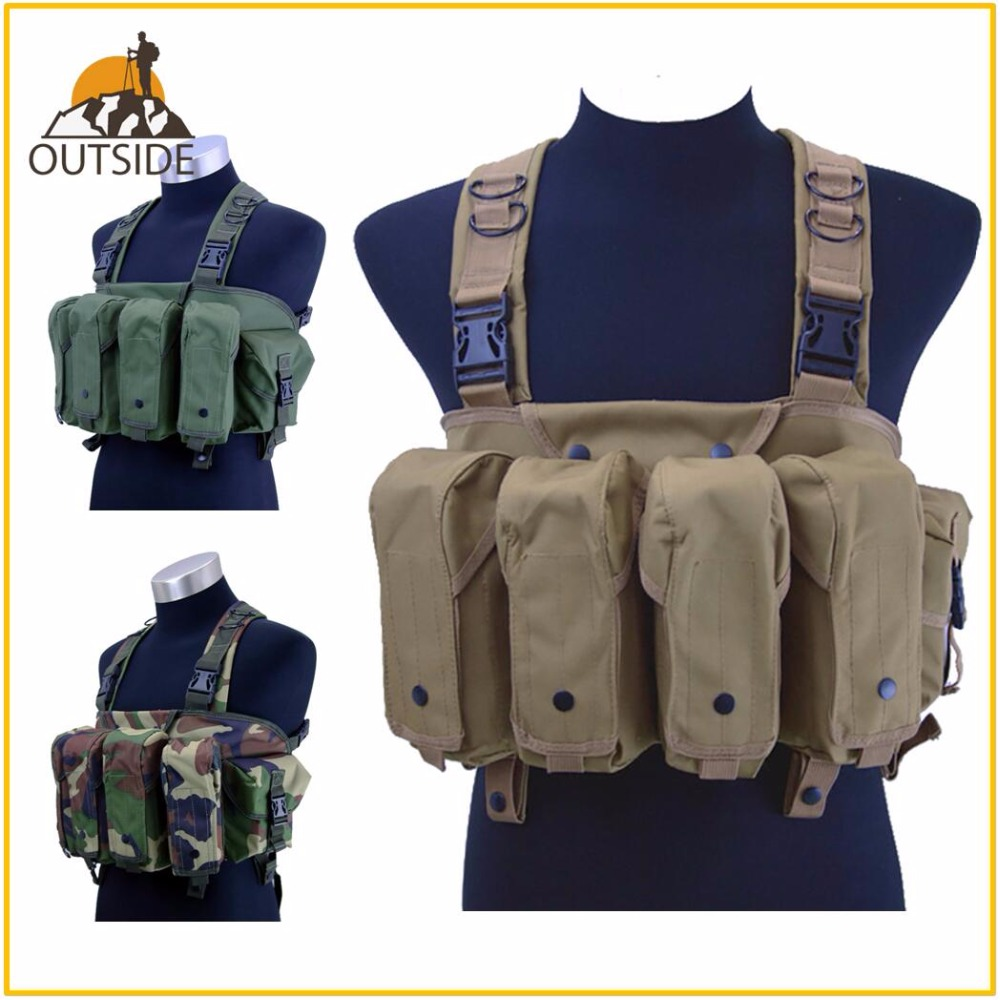 High Quality Outdoor Tactical Chest Rig Airsoft Hunting Vest Molle Pouch Simple Military ACU Tactical Vest with Magazine Pouch emersongear lbt1961k tactical chest rig molle vest with 7 62 magazine pouch military hunting vest multicam combat vest em2978