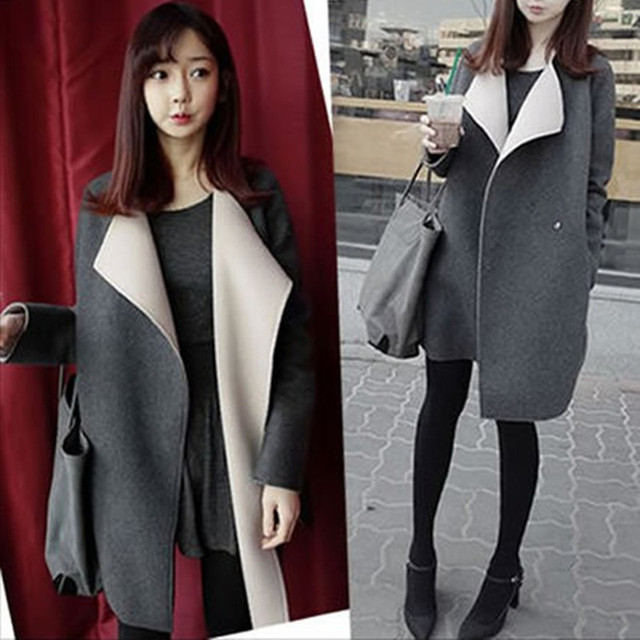 Korean Autumn Women's Large Lapel Wool Coat Feminine Loose Solid ...