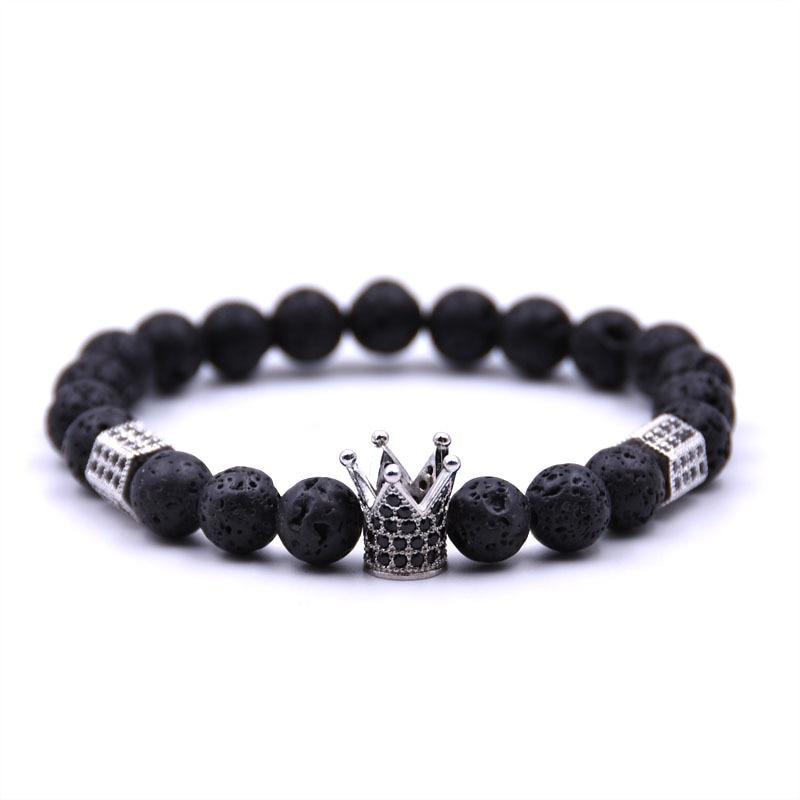 Мода императорская корона и пробки Браслеты черного вулканического камня Натуральный камень Бусины браслет для Для женщин Для мужчин ювел…