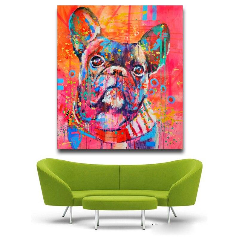 Indah Kartun Hewan Canvas Art Print Lukisan Lucu cat air Anjing - Dekorasi rumah - Foto 3