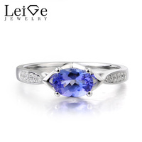 Leige Jewelry Natural Oval Cut Tanzanite Ring Elegant Wedding Ring Solid 925 Sterling Silver December Birthstone