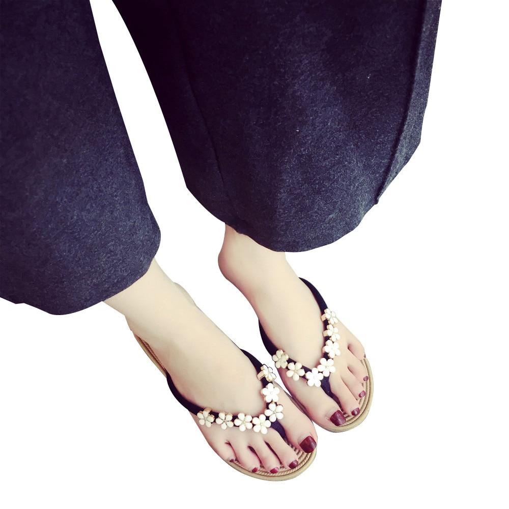 Women Fashion Solid Color Flower Flip Flops Sandals Slipper Beach shoesWomen Fashion Solid Color Flower Flip Flops Sandals Slipper Beach shoes