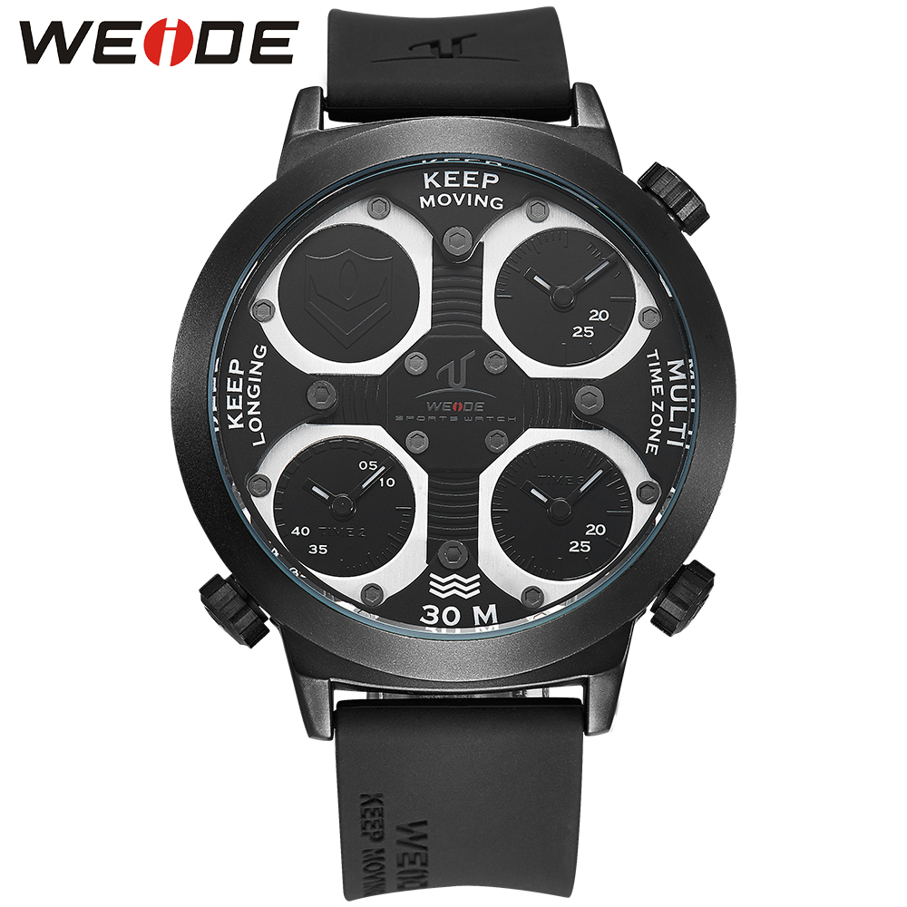 все цены на WEIDE Watches For Men Quartz Luxury Brand Silicone Band Clock Military Wristwatch Waterproof Relogio Masculino Relojes