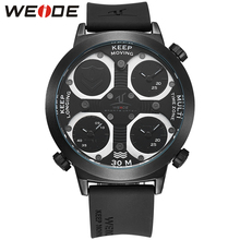 Best Price Mens Luxury Sport Luxury Brand Three Time Zone Quartz Movement Silicone Belt Military Wristwatch Relogio Masculino oulm luxury brand mens leather band quartz watch three time zone male military army wristwatches with gift box relogio releges